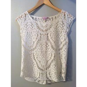 White/cream crocheted top